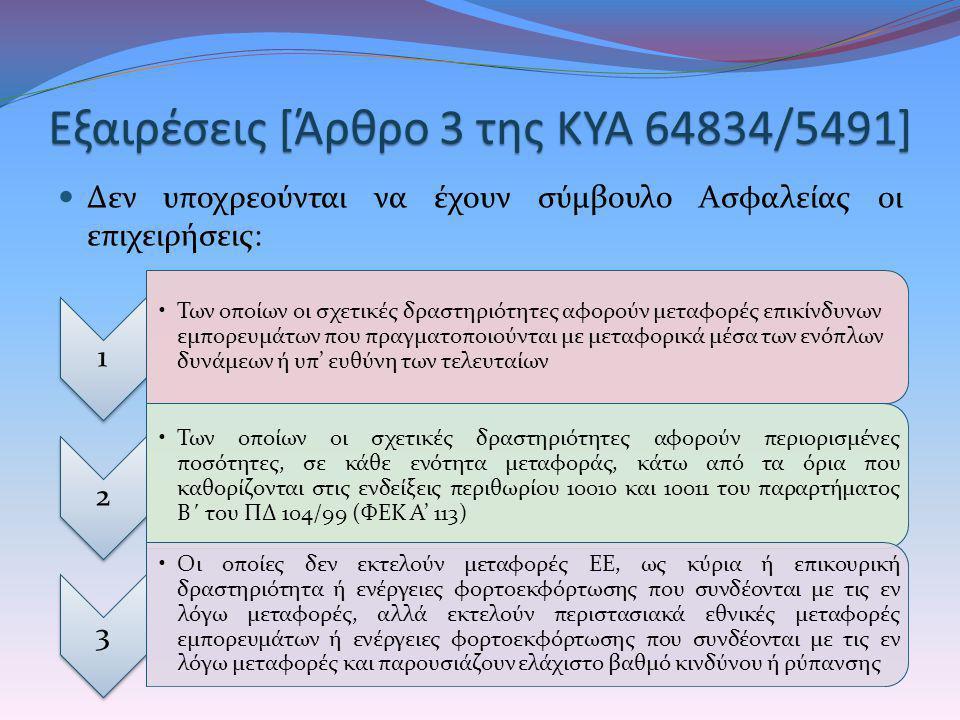 Εξαιρέσεις [Άρθρο 3 της ΚΥΑ 64834/5491]
